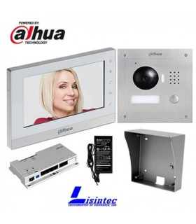 Kit de Portier vidéo IP Dahua composé par VTO2000A + VTH1550CH + VTOB108-SS