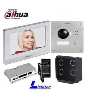 Kit de videoporteiro IP Dahua composto por VTO2000A + VTH1550CH + VTOB107